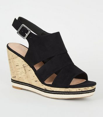 Black Comfort Suedette Cut Out Cork Effect Wedges