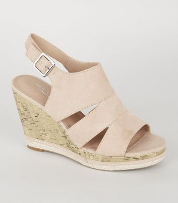 Nude Comfort Cut Out Cork Effect Wedges