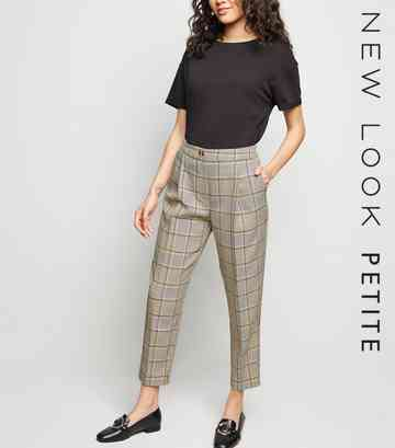 Petite Multicoloured Check Tapered Trousers