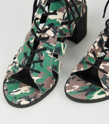 db67b773a94 Green Camo Lace Up Ghillie Heel Sandals New Look