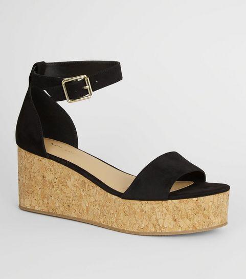 c335eaddef03 ... Black Ankle Strap Cork Effect Flatforms ...