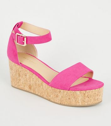 Pink Neon Ankle Strap Cork Effect Flatforms
