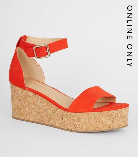 ca7d17ba3a ... Bright Orange Ankle Strap Cork Effect Flatforms ...