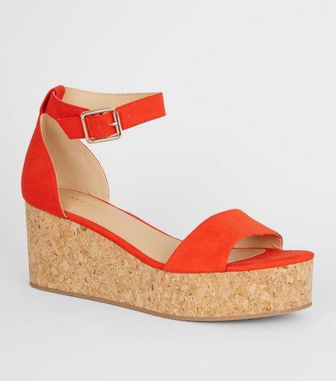 7a26fc487ebed1 ... Chaussures à plateformes effet liège orange vif à brides aux chevilles  ...
