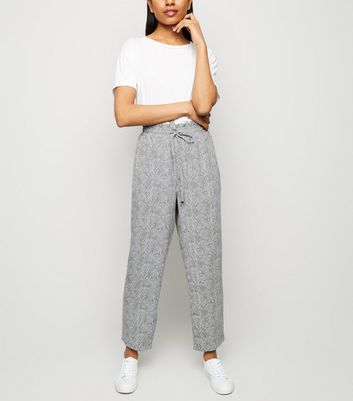 Petite Light Grey Snake Print Lightweight Joggers