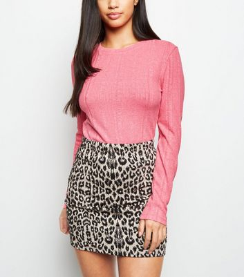 Petite Bright Pink Neon Ribbed Top