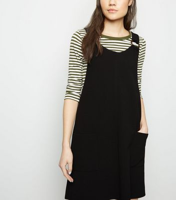 Black Crepe Resin Ring Pinafore Dress