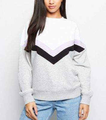 Petite Lilac Chevron Colour Block Sweatshirt