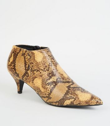 Yellow Faux Snake Cone Heel Shoe Boots