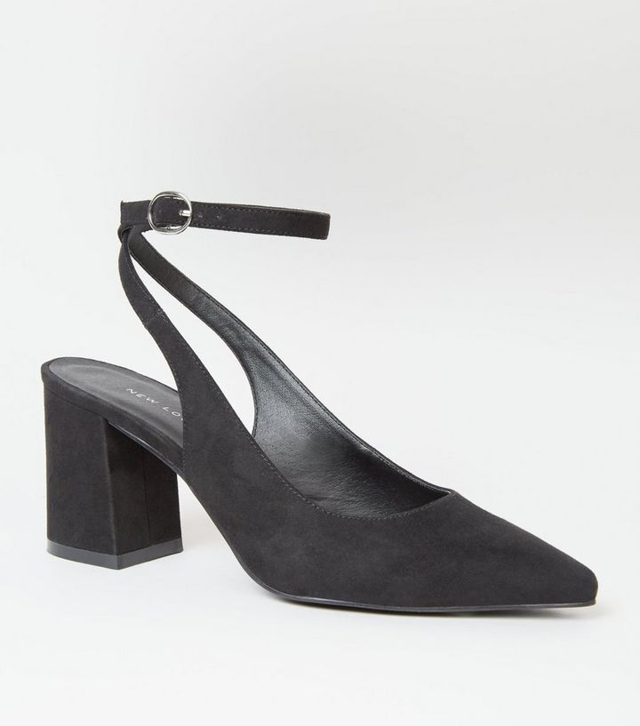 b5ca716f7e3 Black Suedette Slingback Block Heels Add to Saved Items Remove from Saved  Items