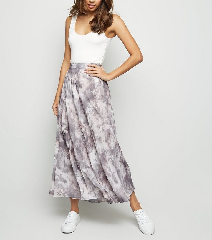 a394f9d4837e7b Light Grey Tie Dye Pleated Midi Skirt