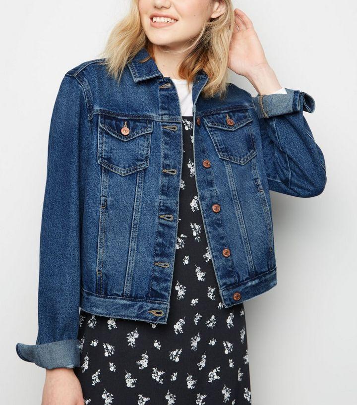 fe860e19a96 Tall Blue Button Front Denim Jacket
