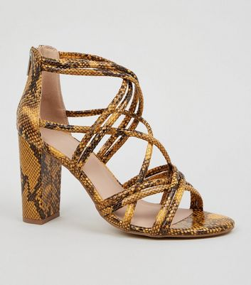 Yellow Faux Snake Block Heel Sandals