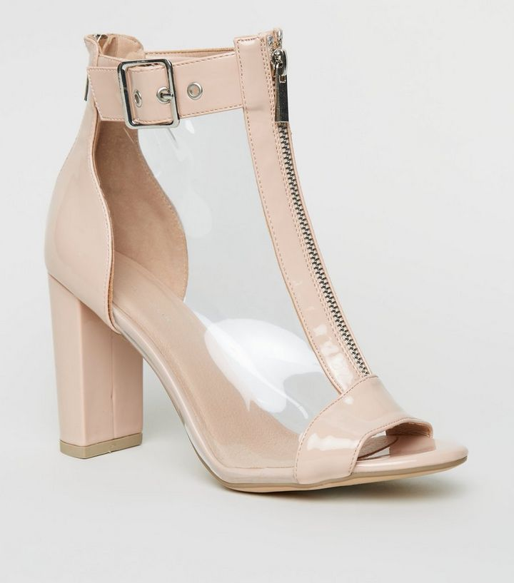 d4e90adeb3f Nude Clear Panel Block Heel Peep Toes Add to Saved Items Remove from Saved  Items