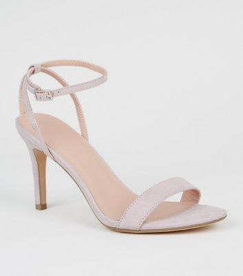 Lilac Suedette Mid Stiletto Heel Sandals