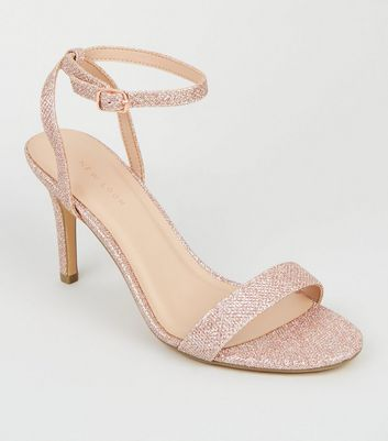 Rose Gold Glitter Ankle Strap Sandals