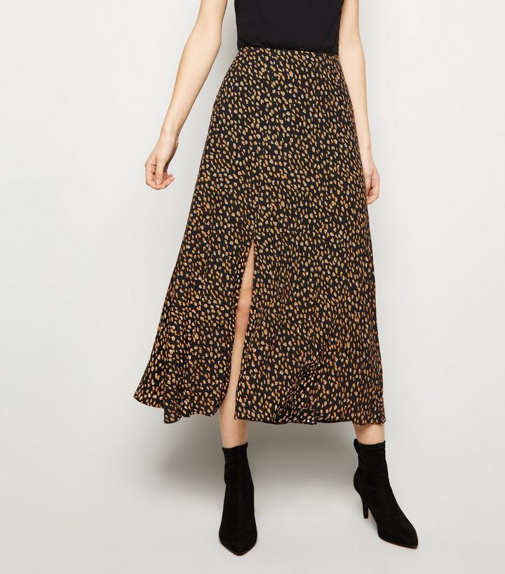 18dcc9bf2d Black Spot Print Side Split Midi Skirt Add to Saved Items Remove from Saved  Items