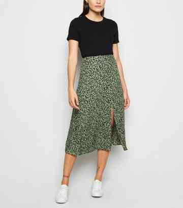 Gren Spot Side Split Midi Skirt