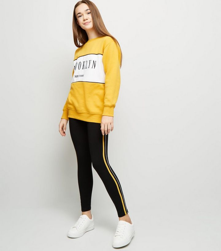 6234b6eb976a3 Girls Yellow Side Stripe and Piped Leggings | New Look
