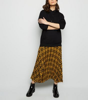 Yellow Check Pleated Midi Skirt
