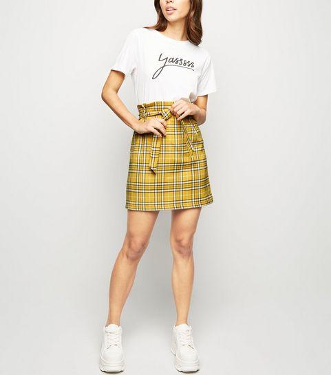 e4ab1487530 ... Mustard Check Tie Waist Paperbag Skirt ...