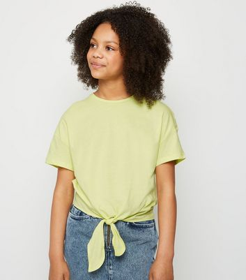 Girls Yellow Tie Front T-Shirt