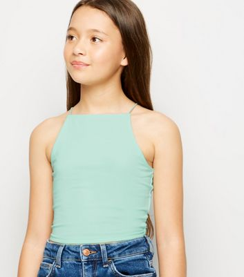 Girls Mint Green High Neck Cami