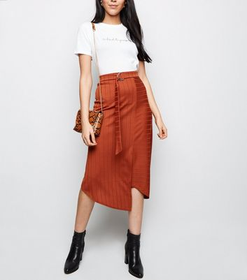Rust D-Ring Asymmetric Midi Skirt