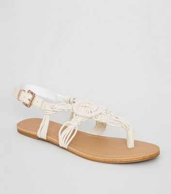 Off White Crochet Strap Flat Sandals