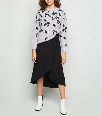 Black Crepe Midi Wrap Skirt