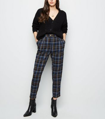 Black Check Slim Leg Trousers