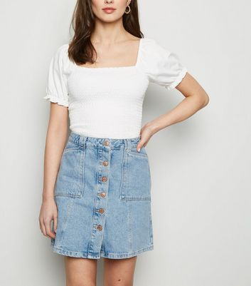 Bright Blue Patch Pocket Denim Skirt