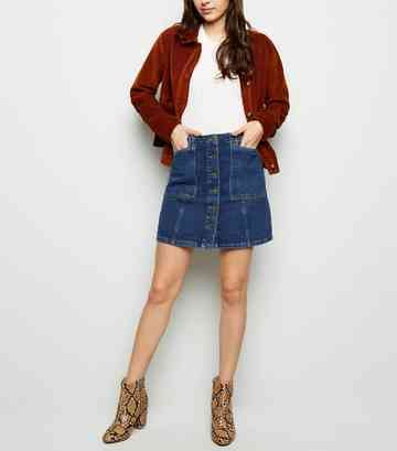 Blue Patch Pocket Denim Skirt