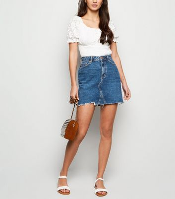 Blue Fray Hem Denim Mom Skirt