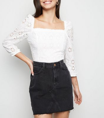 Black Frayed Hem Denim Skirt