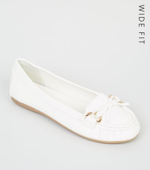 50d7d26e1c2c ... Wide Fit White Leather-Look Moccasin Loafers ...