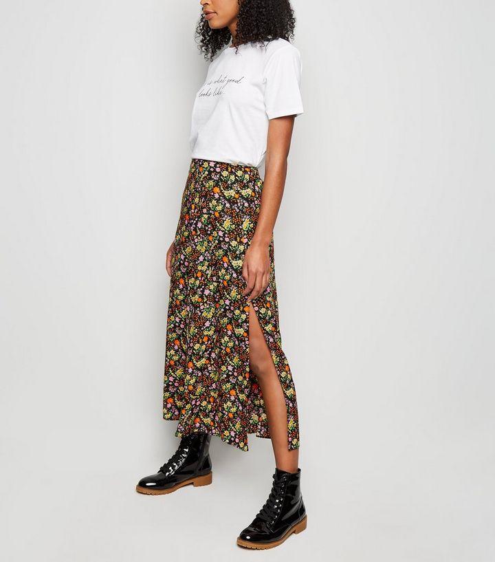 329920261 Tall Black Ditsy Floral Midi Skirt | New Look