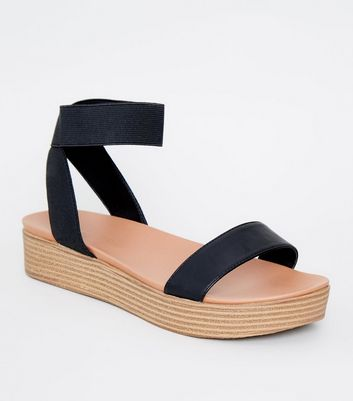 Black Wood Flatform Footbed Sandals