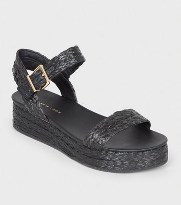 Black Straw Effect Espadrille Flatform Sandals