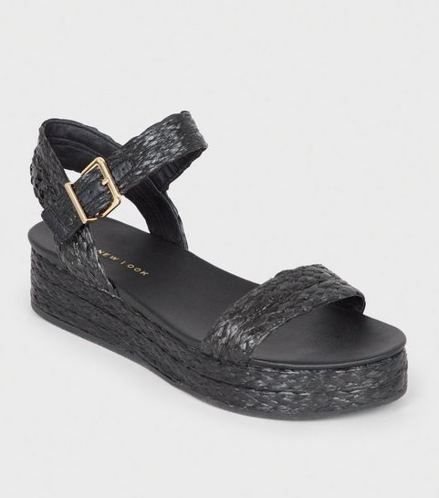 96c5e337ef97 ... Black Straw Effect Espadrille Flatform Sandals ...