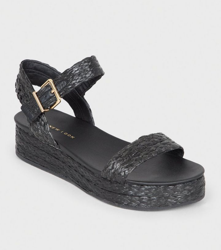 a81cd24732af Black Straw Effect Espadrille Flatform Sandals