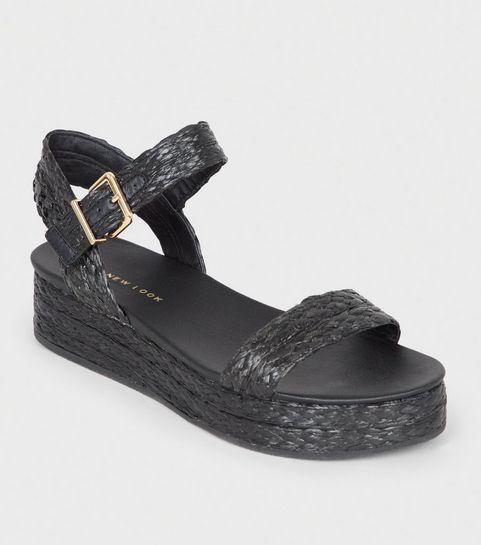 64ebb88f9454 Black Straw Effect Espadrille Flatform Sandals