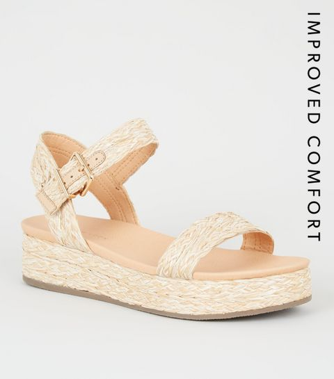 b82e701be94f ... Off White Straw Effect Flatform Footbed Sandals ...