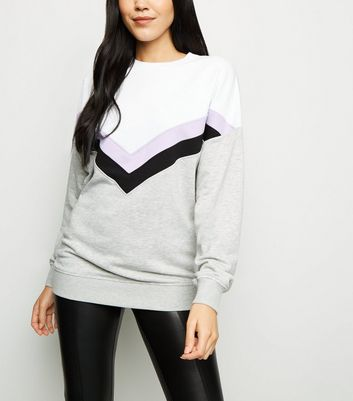 Tall Lilac Chevron Colour Block Sweatshirt