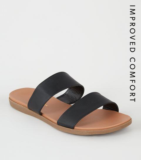d2c35cb988ece9 ... Black 2 Strap Footbed Sliders ...
