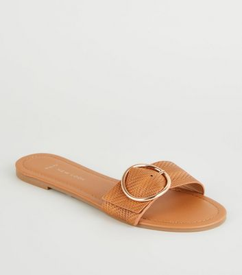 Wide Fit Tan Woven Strap Sliders by New Look