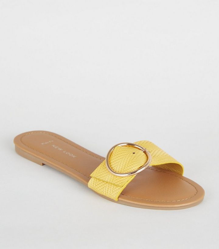 f9d7d67c9029 Wide Fit Mustard Woven Strap Sliders