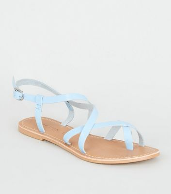 Pale Blue Leather Strappy Flat Sandals