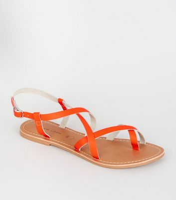 Coral Neon Leather Strappy Flat Sandals