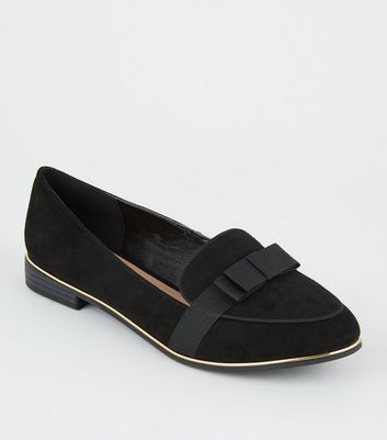 Wide Fit Black Suedette Metal Trim Bow Front Loafers by New Look